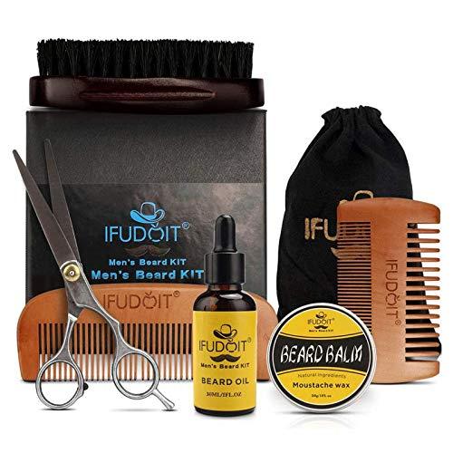 Bartpflege-Set für Männer, 100% Bio-Bartöl, Grooms Bartschnurrbart fördert das Haarwachstum, Schnurrbartbalsam, Bartbürste, Bartkamm, Bartschere für Bart & Schnurrbart mit Geschenkset 6-tlg