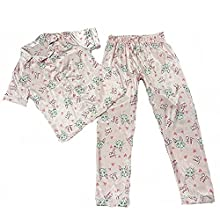 NIJIA Conjuntos de Pijamas de Satén para Mujer Pantalones Largos y de Manga Corta Ropa de Dormir Ropa de Dormir de Satén con Estampado y Botones Conjuntos de Pijamas de Seda Suave M-XXL(Rosado, M)