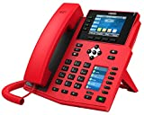 Fanvil X5U-R High-End VoIP Phone, 3.5-Inch Color Display, 2.4-Inch Side Color Display for DSS Keys. 16 SIP Lines, Dual-Port Gigabit Ethernet, Power Adapter Not Included, Red