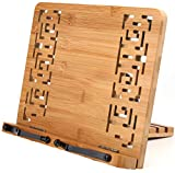 Lawei Bamboo Book Stand with Retro Hollow Elegant Pattern - Adjustable Book Holder Cookbook Stand Desk Document Holder for Book, Tablet PC Rest Stand