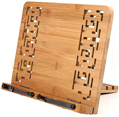 Lawei - Supporto per libri in bambù con motivo vintage e cavo elegante, regolabile, per libri di cucina, supporto da scrivania per libri, tablet e PC
