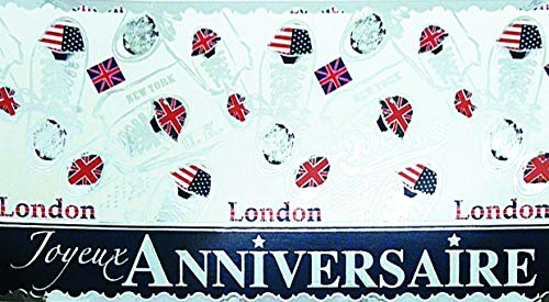 """Bandiera panoramica con scritta """"Joyeux Annversa"""" argentata che brilla – Scarpe da tennis alla moda con bandiera inglese americana blu Jeans rosso stelle London U.K. New York U.S.A."""