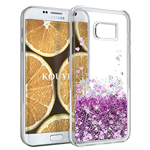 KOUYI Funda Samsung Galaxy S7,Amor Brillo Liquida 3D Bling Cubierta Flowing Liquid diseño Creativo Arenas Movedizas TPU Fundas Telefono Movil Carcasas para Samsung Galaxy S7 (Púrpura)