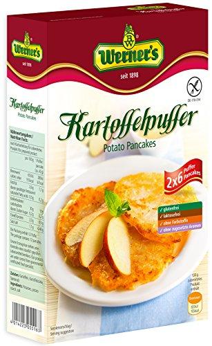 Werner´s Kartoffelpuffer 2x6 Stück (8 Packungen/Karton) - glutenfrei, laktosefrei, ohne Farbstoffe, ohne zugesetzte Aromen, 1 Kartoffelpuffer entspricht 67 kcal