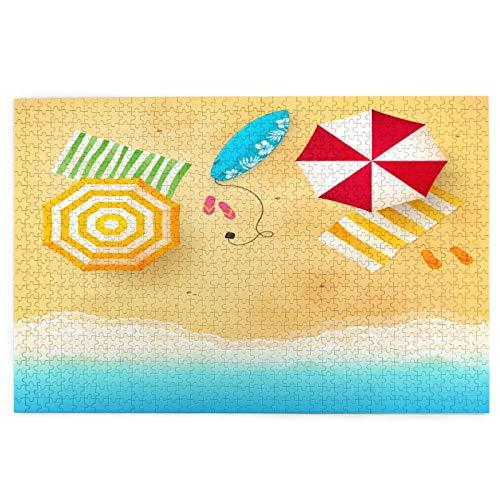 Rompecabezas de 1000 Piezas,Rompecabezas de imágenes,Olas de playa con toallas de sombrilla y tabla de surf,Juguetes puzzle for Adultos niños Interesante Juego Juguete Decoración Para El Hogar