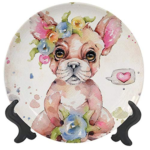 Customized Ceramic Dinner Plate Sweet Frenchie Porcelain Stoneware Round Plate Ceramic Ornament for Home&Office Wall Decors Family Sentiment 10 inch