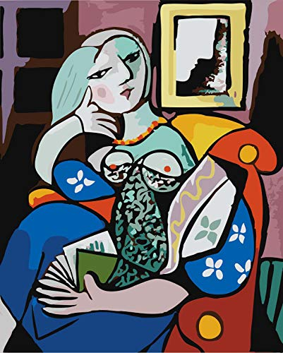 DoMyArt Acrylic Paint by Number Kit On Canvas for Adults Beginner - World Famous Oil Painting Woman with a Book by Picasso 16X20 Inch