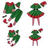 Fossen Kids Pijamas Navideños Familiares, Conjunto de Pijama Navideño Familia Invierno, Traje de Navidad Elfo Ropa de Dormir para Dad Mom Niña Bebe Niño