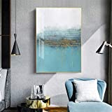 Sin Marco Abstract Flowing Blue Golden Foil Wall Art Modern Canvas ng Pop Decoración Interior para Sala de Estar Blue Poster Print 40x60cm