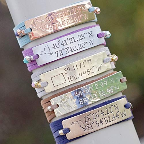personalized coordinate bracelet gift