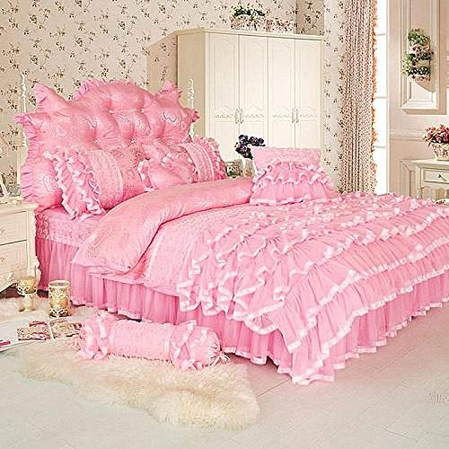 Princess style Twin Queen King size Pink Cream Bedding set Luxury Bed cover Duvet cover Bed skirt Bed sheets set parure de lit pink bedding set Queen size 7Pcs