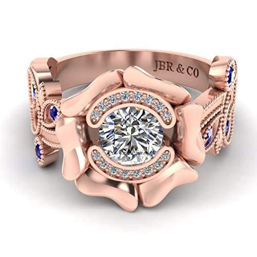 Jbr Lotus Anillo de plata de ley de corte redondo para mujer, anillo de aniversario de novia, el mejor anillo con hermosa caja de joyería para esposa y novia