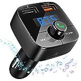 VICTSING Transmisor Bluetooth FM para Coche, Adaptador Transmisor de Radio Inalámbrico Bluetooth 4.2 con Llamadas de Mano, QC3.0 Cargador Dual USB, Violado