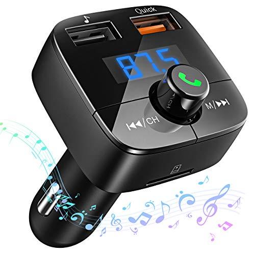Victsing Reproductor Mp3 Mechero Coche Transmisor FM Bluetooth (V4,2) Dual USB Qc3.0 Soporte De Tarjeta TF+U Disk, Tablet, iPhone, Negro