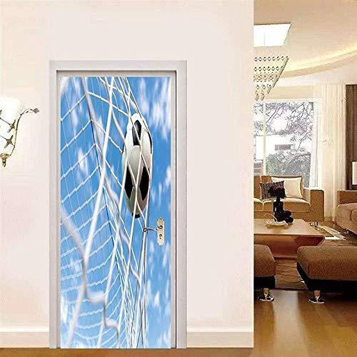 Cartel de la puerta balón de fútbol autoadhesivo con cielo azul etiqueta engomada de la puerta 3D película de la puerta PVC impermeable papel tapiz a prueba de aceite foto wallpaper-95x215cm