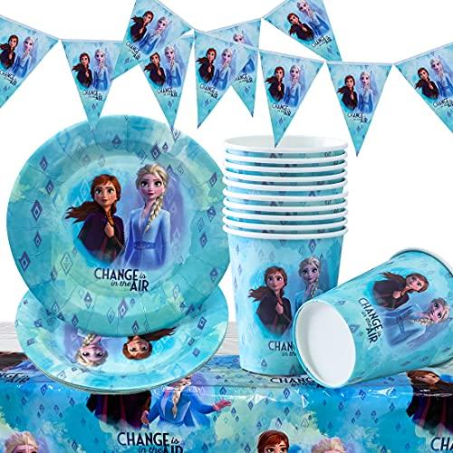 PAWT Juego de 26 decoraciones para cumpleaños de Anna Elsa, Frozen Frozen de la reina de hielo, 12 platos, 12 vasos, 1 pancarta triangular y 1 mantel para 12 niños de fiesta de cumpleaños