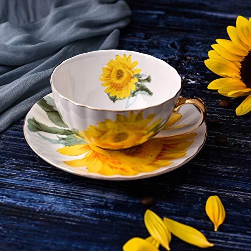 GGsmd Koffie kop en schotel koffie set eenvoudige gouden grens Bone China business cup en schotel,Zonnebloem