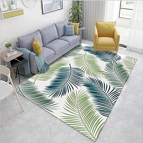 GONGFF Alfombra moderna para sala de estar, decoración del hogar, antideslizante, verde, azul oscuro, impresión de hojas 60 x 110 cm