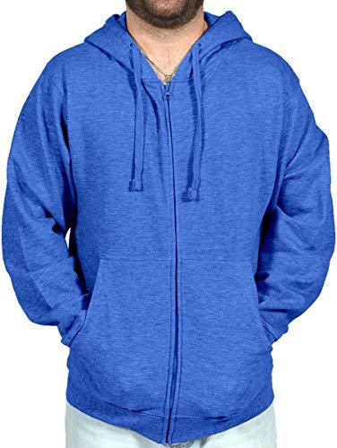 Licensed Mart Unisex Basic Zip Up Hoodie Sweatshirt 4010, Heather Blue, XL