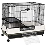 PawHut Rolling Small Animal Rabbit Cage for Bunny, Chinchillas, & Gerbils with a Large Living Space 28.75'' x 18'' x 20''