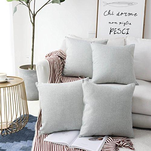 Home Brilliant Decorative Woven Fine Faux Linen Pillowcase Cushion Covers for Sofa, Light Grey, Set of 4, 18 inch