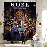 2020 FMVP Lebron James 23Rd Kobe cortina de ducha de baño forro de tela de poliéster conjuntos de cortinas con ganchos Los Angeles Lakers Campeonato King Crown Art Sports Player Poster 72x84 pulgadas