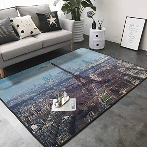 Print Floor Mats Bedroom Carpet Aerial View of Eiffel Tower Clear Day Boulevard Busy Town Park Skyscrape 60'x 72' Personalized Floor mats
