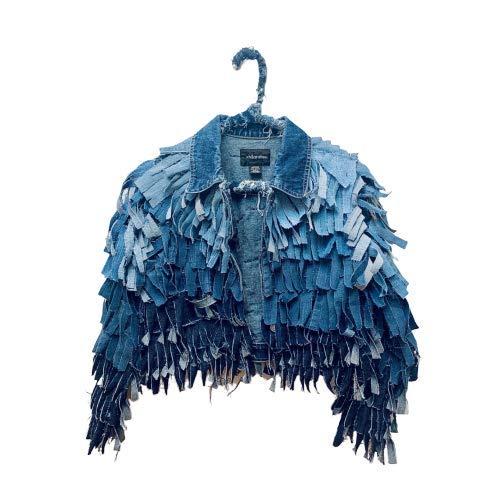 Denim Ombre Fringe High quality new Jacket Layered Genuine