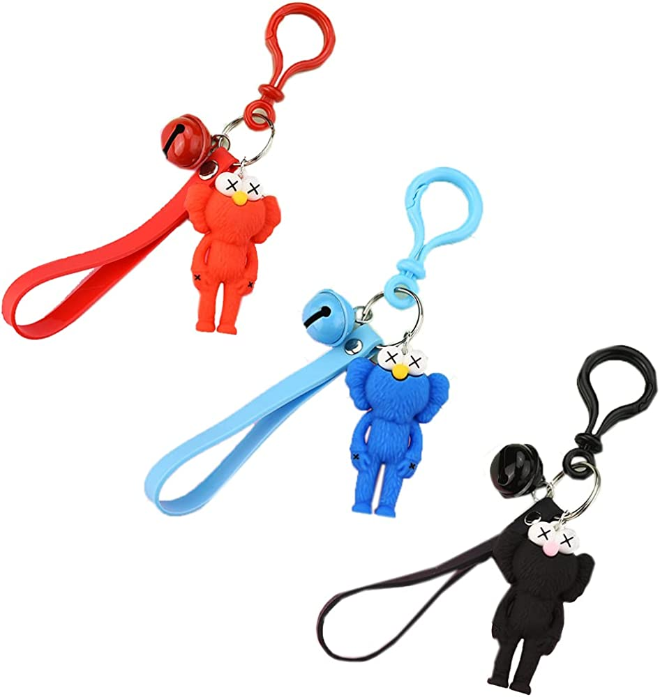 3PCS Action Figure Keychain Fashion Bag Pendant Cartoon Dolls Key Chain Keyrings Gift For Kids Toy Decoration- Black Blue and Red