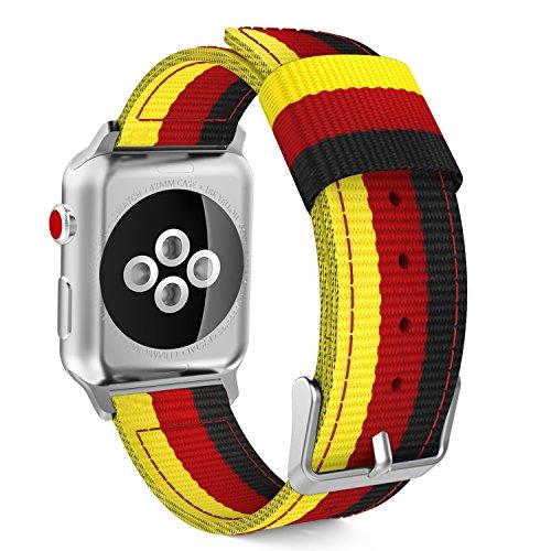 Preisvergleich Produktbild MoKo Armband Kompatibel für Apple Watch Series 5 / 4 / 3 / 2 / 1 42mm 44mm,  Nylon Strick Replacement Uhrenarmband Sportarmband Band Erstatzband mit Schließe,  Gelb / Rot / Schwarz
