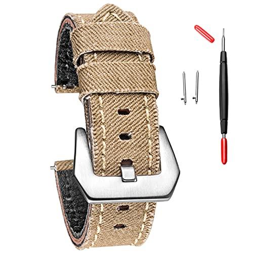 Hemsut - Correa de reloj de lona para hombre y mujer, correa de reloj de vaquero de liberación rápida hecha a mano, repuesto suave vintage de 20 mm, 22 mm, 24 mm,, Beige, 22mm, Classic