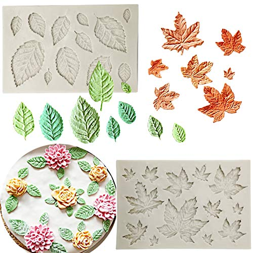 2 pcs Assorted Leaf Fondant Mold,3D Leaf Silicone Mold for Chocolate Candy, Sugar craft Cake Decoration, Cupcake Topper, Polymer Clay