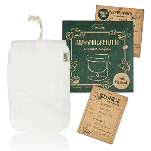 Lumaland Cuisine Nussmilchbeutel aus reinen Hanf Fasern für vegane Nussmilchherstellung inklusive Mandelmilch Rezept in nachhaltiger Verpackung Mandelmilch selber Machen Perfekter Milchersatz