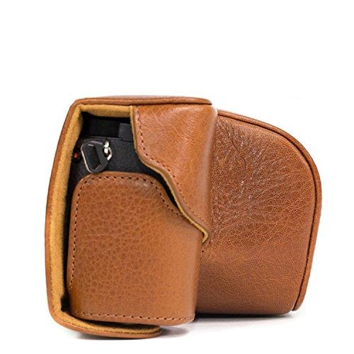 MegaGear Leder Kameratasche für Spiegelreflexkamera Sony Alpha A6000 mit 16-50mm Objektiv (Hellbraun)
