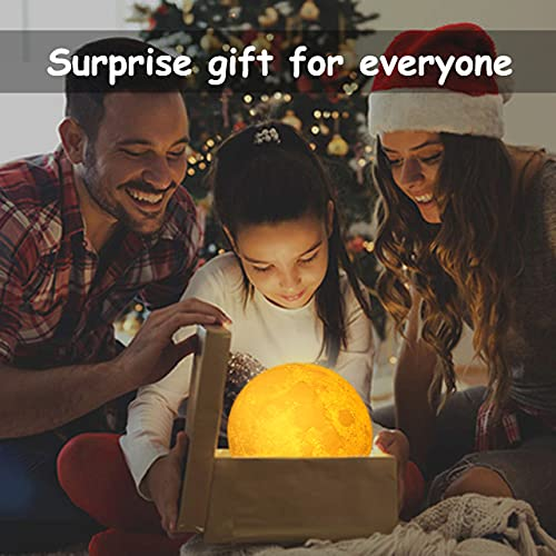 AED 3D Printed Moon Lamp with Stand, Touch & Remote Control, Three Colors, Dimmable, USB Rechargeable, Lunar Moon Night Light, Christmas Thanksgiving Gifts (7.1INCH)