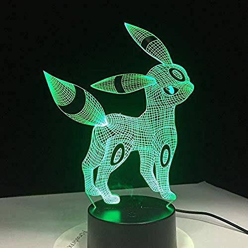 xcdfr 3D Night Lights LED Table Lamp Pokemon Umbreon Acrylic USB Sleep Light 3Aa Battery 7 Color Changing Bedroom Decoration Kids Gifts