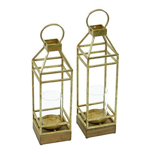 Magari Furniture Lieve Candle Lantern (Set of 2), Rustic Gold, 2 Piece