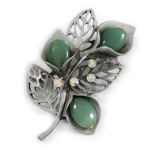 Avalaya Vintage Inspired AB Crystal Jade Semiprecious Stone Floral Brooch/Pendant in Pewter Tone Metal - 63mm Long