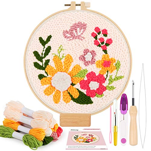 Punch Needle Cloth for Embroidery Floss Cross Stitching Beginners 20 Pieces Embroidery Punch Needle Kits Adjustable Rug Yarn Punch Needle Wooden Handle Embroidery Pen Needle Threader