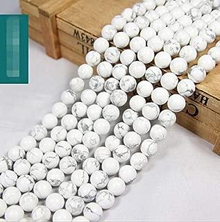 "FidgetKute 15"" 4mm 6mm 8mm 10mm 12mm Natural White Turquoise Gemstone Round Beads 4MM"