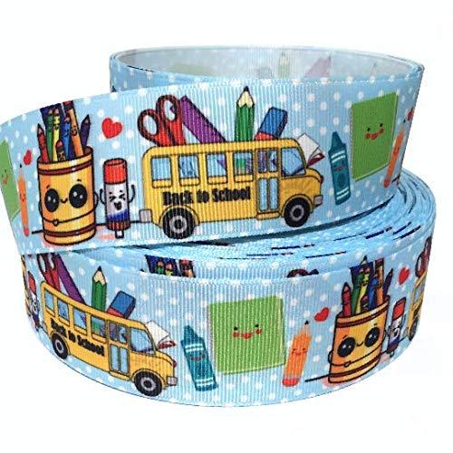 Grosgrain Ribbon 1.5' Back to School Kids Bus Crayons ABC Printed Per Yard