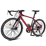 DJYD 14 Speed Rennrad, Alurahmen Stadt-Pendler-Fahrrad, Mechanische Scheibenbremsen Endurance Straßen-Fahrrad, 700 * 23C Räder, Weiss FDWFN (Color : Red)
