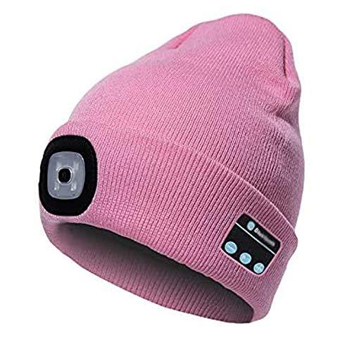shangji Led Beanie Hat con Luz InaláMbrica Bluetooth Beanie Hat Gorra Invierno Sombrero MúSica InaláMbrico Regalo para Hombres y Mujeres Camping, Pasear Perros, Andar en Bicicleta (Rosado)
