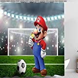 Cortinas para ventanas 3D Game Super Brother Football Stadium Medalla de Oro Adecuado para Decoración Juego de Tela de Baño con Ganchos Lavable a máquina 178 x 200 cm Verde
