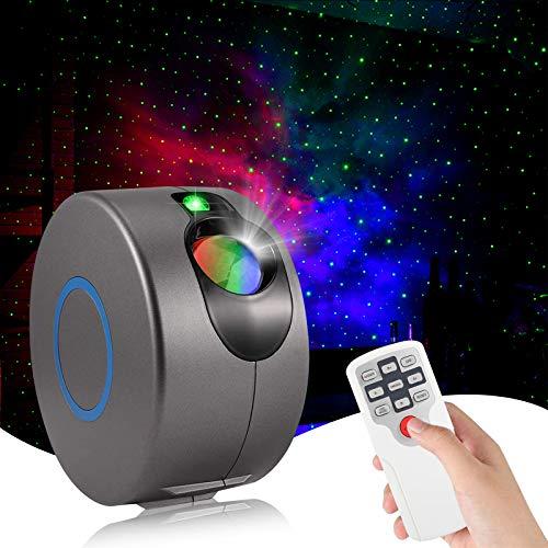 Larkotech Proyector Estrellas Galaxia, Lámpara Luces Nocturnas de Nebulosa con Control Remoto, 7 colores Luz Nocturna Infantil Estrellas & Océano para Niños Adultos Decoración de la Habitación (Negro)