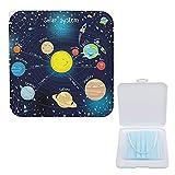 Porta Mascarillas Infantil Portamascarillas Caja Para Guardar Mascarillas Para Niños Y Niñas Planeta Galaxy Azul 13cmx13cm