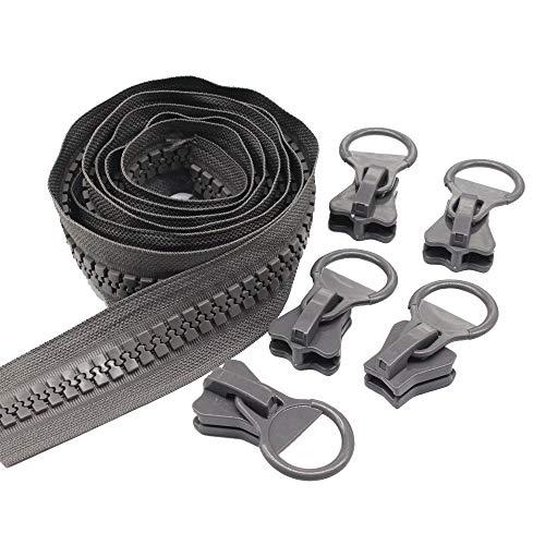 YaHoGa #20 Super groß Reißverschluss endlos Grau 1,8 metres Reissverschluss endlos Reißverschluss Kunststoff + 5 Nonlock-Zipper (Grau 1,8 M)