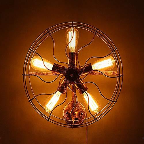 De enige goede kwaliteit Decoratie E27 Retro Industriële Wind Smeedijzer Diameter 46cmelektrische Ventilator Wandlamp Bestraling Area 5-10 Vierkante Meters Verlichting Fixture Roest Kleur