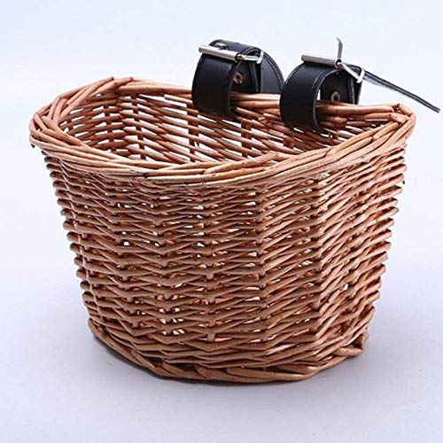 SXFYHXY Wicker Bike Basket, Portable Hand-woven Shopping Basket Folk Craftsmanship Bicycle Handlebar Storage Basket with Leather Straps