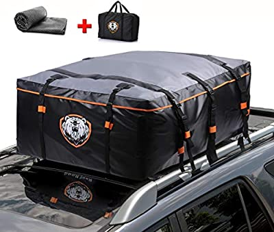 Waterproof Rooftop Cargo Carrier - Heavy Duty Roof Top Luggage Storage Bag with Anti-slip Mat + 10 Reinforced Straps & Door Hooks - Perfect for Car, Truck, SUV With/Without Rack - 19 Cubic Feet Pro